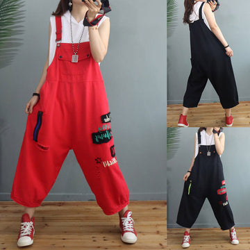 Women Casual Letter Hole Jumpsuits Dungarees