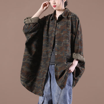 Women Casual Loose Camouflage Turn Down Collar Shirt