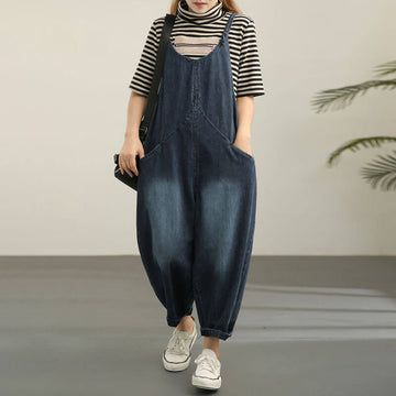 Women Casual Loose Denim Cotton Jumpsuit Dungarees