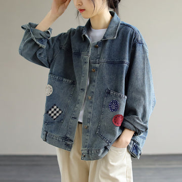 Women Casual Loose Denim Pocket Patchwork Jacket