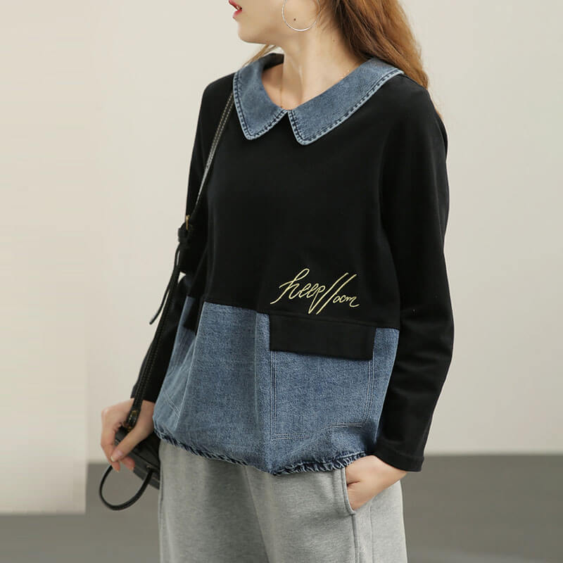 Women Casual Loose Letter Stitching Sweatshirt