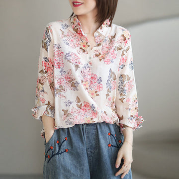 Women Casual Loose Pleated Print Summer Shirt