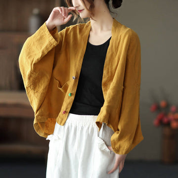 Women Casual Loose Pure Color Cardigan Coat