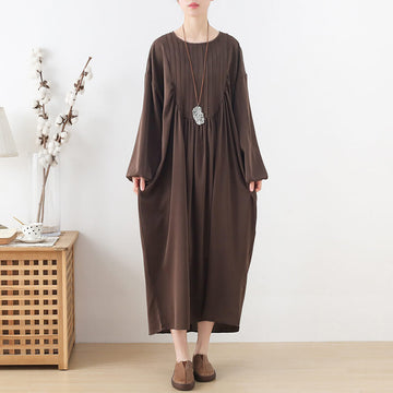 Women Casual Loose Retro Draped Long Dress