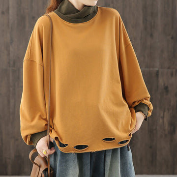 Women Casual Loose Stitching Hole Sweatshirt