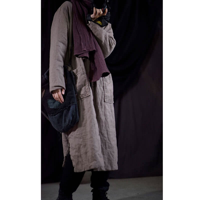 Women Casual Loose Warm Pure Color Long Coat