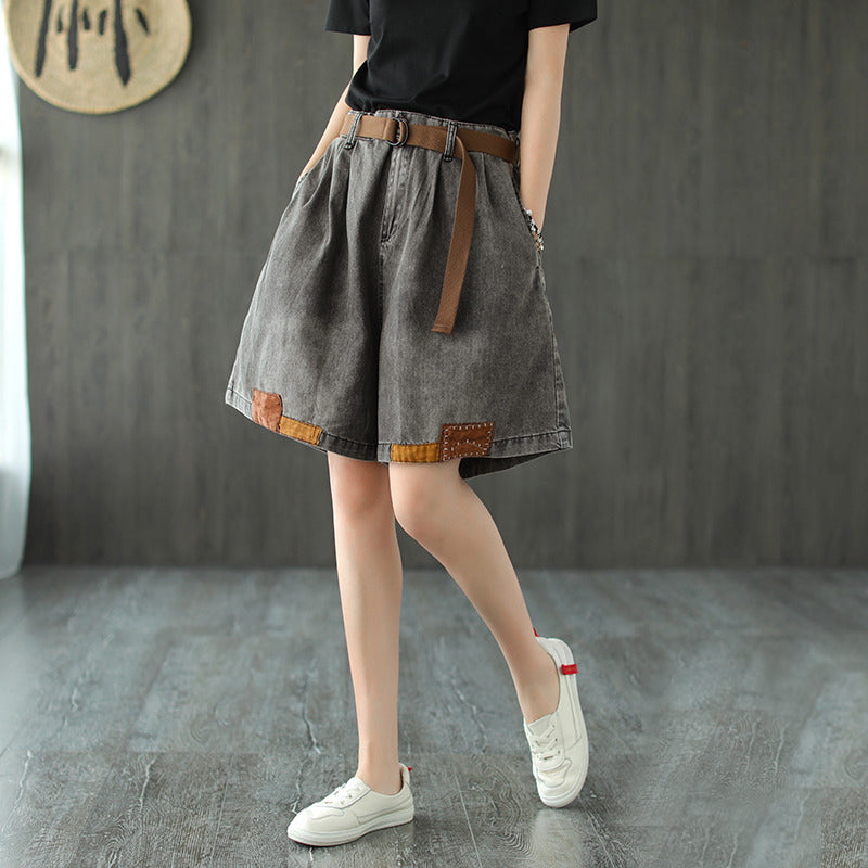 Women Casual Patchwork Cotton Shorts