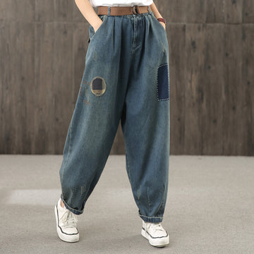 Women Casual Patchwork High Waist Jeans