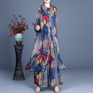 Women Casual Pocket Floral Print Two Pieces Sets