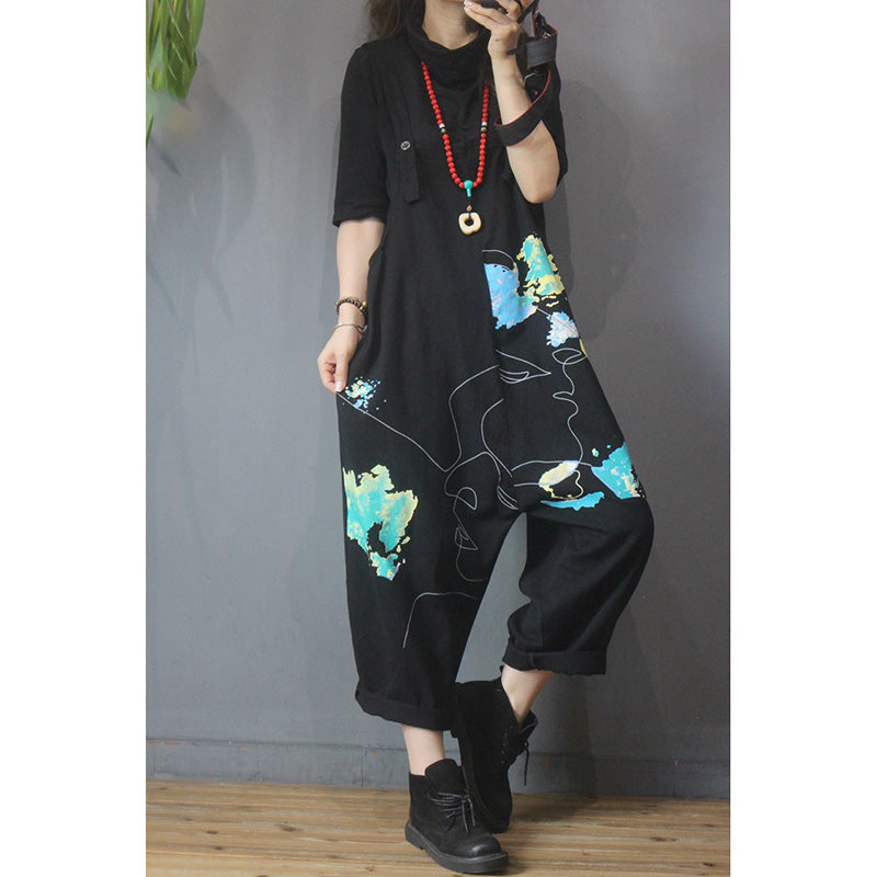 Women Casual Print Pocket Overalls