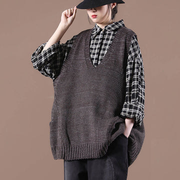 Women Casual Pure Color Loose Knitted Vest