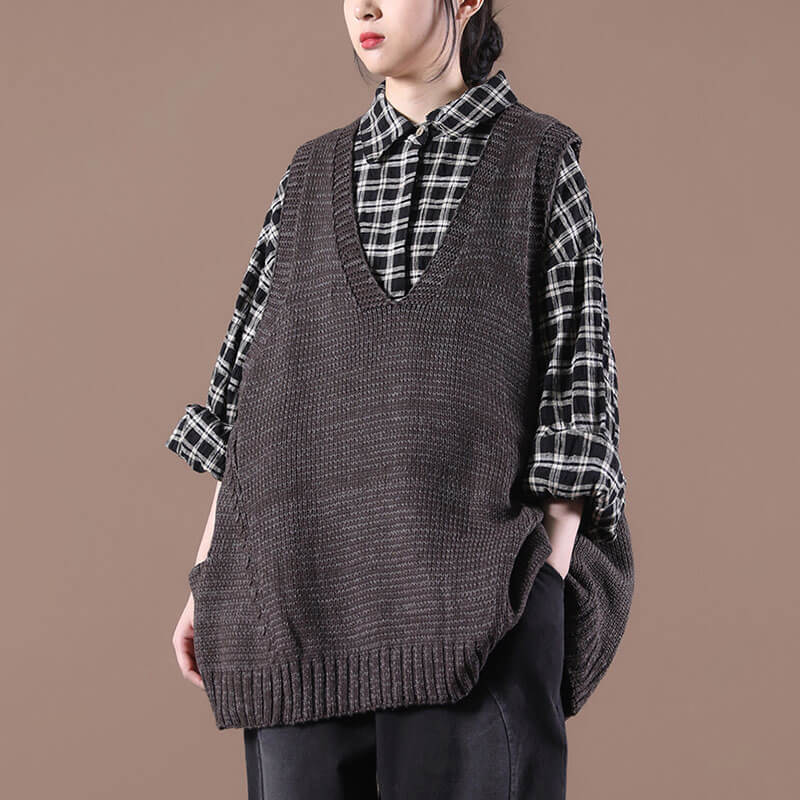 Women Casual Pure Color Loose Knitted Sweater Vest