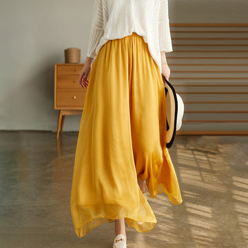 Women Casual Pure Color Pocket Wide Leg Pants