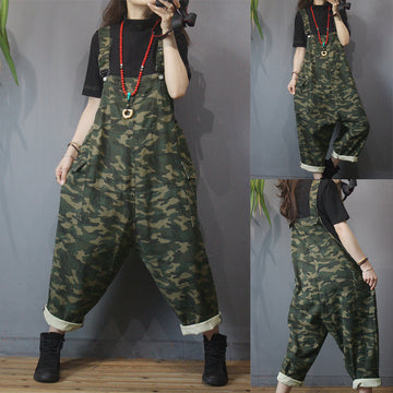 Women Casual Retro Camouflage Jumpsuit