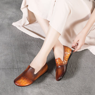 Women Casual Retro Flat Leather Shoes