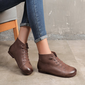 Women Casual Solid Color Leather Boots