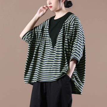 Women Casual Stripes Stitching Pleated Loose T-shirt