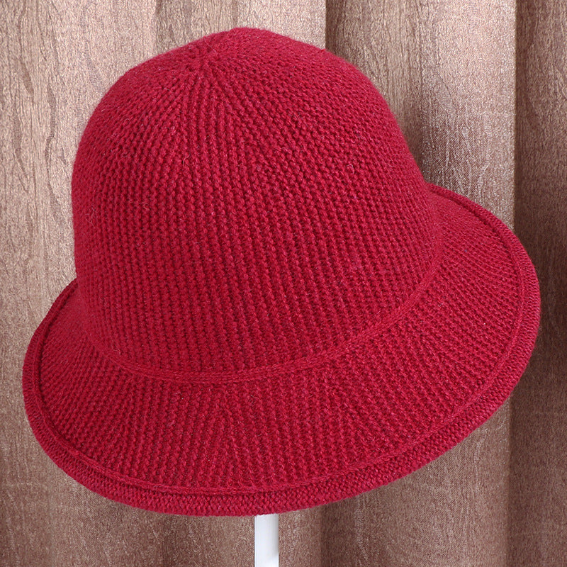 Women Casual Warm Solid Color Knitted Hat