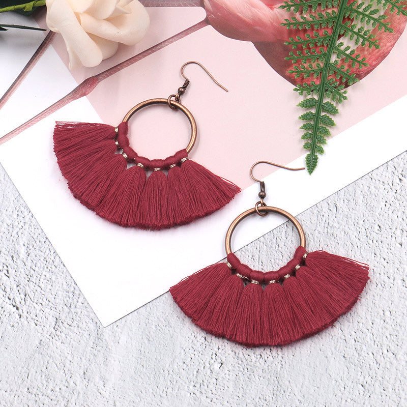 Women Circle Fan-shaped Tassel Earrings