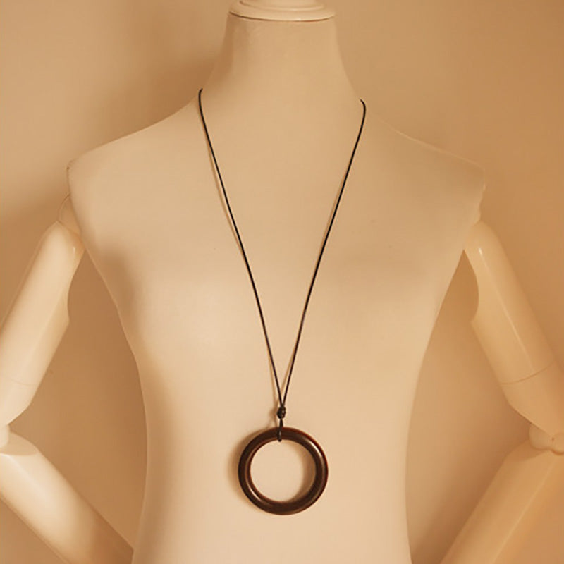 Women Circle Pendant Sweater Necklace