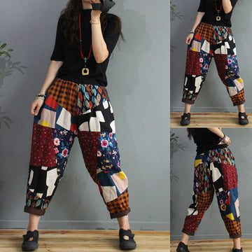Women Color Contrast Elastic Waist Pants
