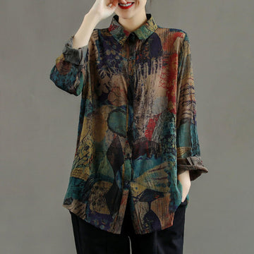 Women Color Contrast Floral Shirt