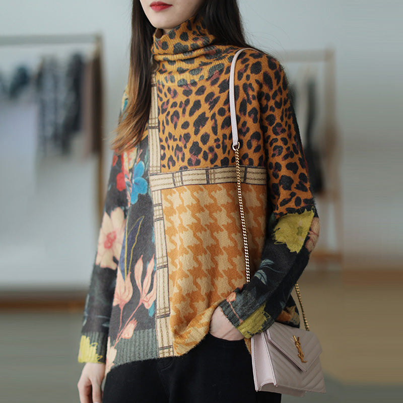 Women Color Contrast Flower Turtleneck Sweater