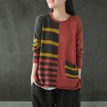 Women Color Contrast Knitted Pocket Sweater