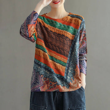 Women Color Contrast Knitted Printed Floral Sweater