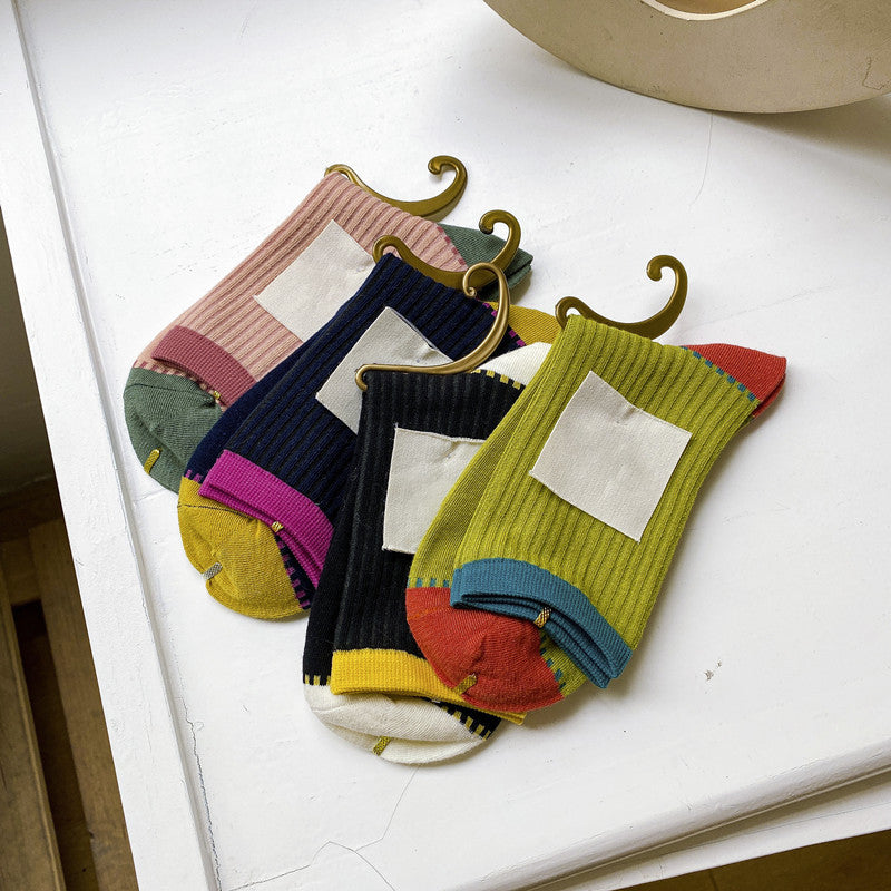Women Color Contrast Socks(6 Pairs)
