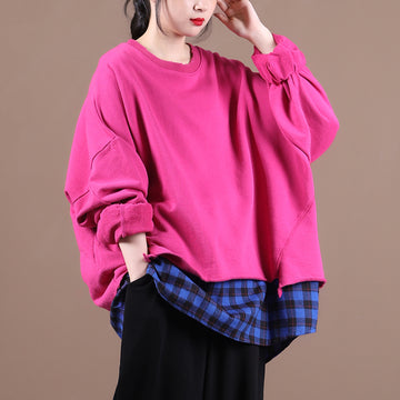 Women Color Contrast Stitching Sweatshirt