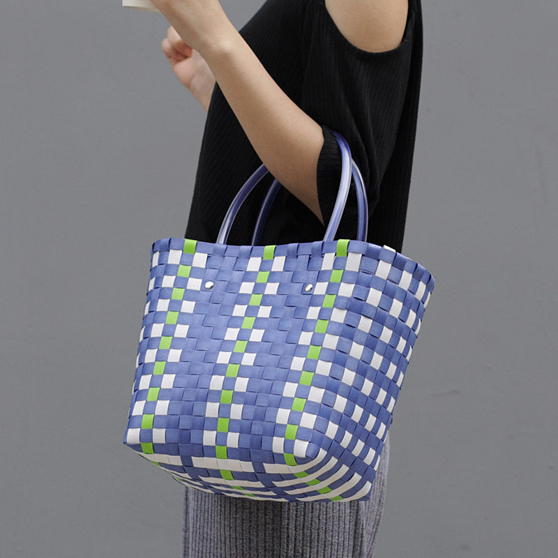Women Color Contrast Woven Handbag
