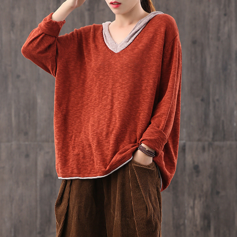 Women Color Contrasting Hooded Sweater