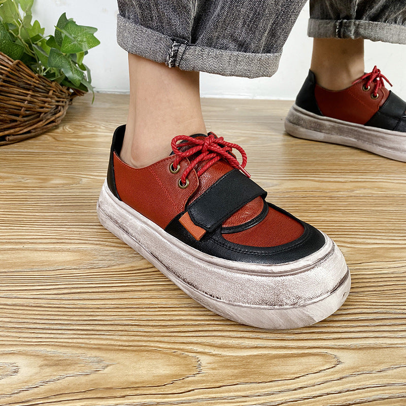 Women Color Matching Lacing Leather Shoes