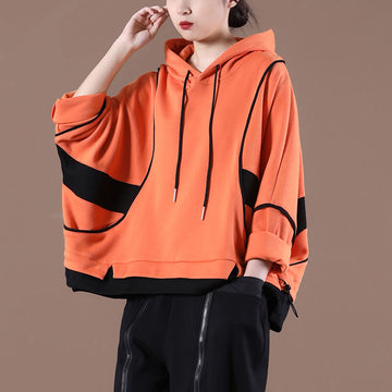 Women Color Spliced Drawstring Hoodie Sweatshirt