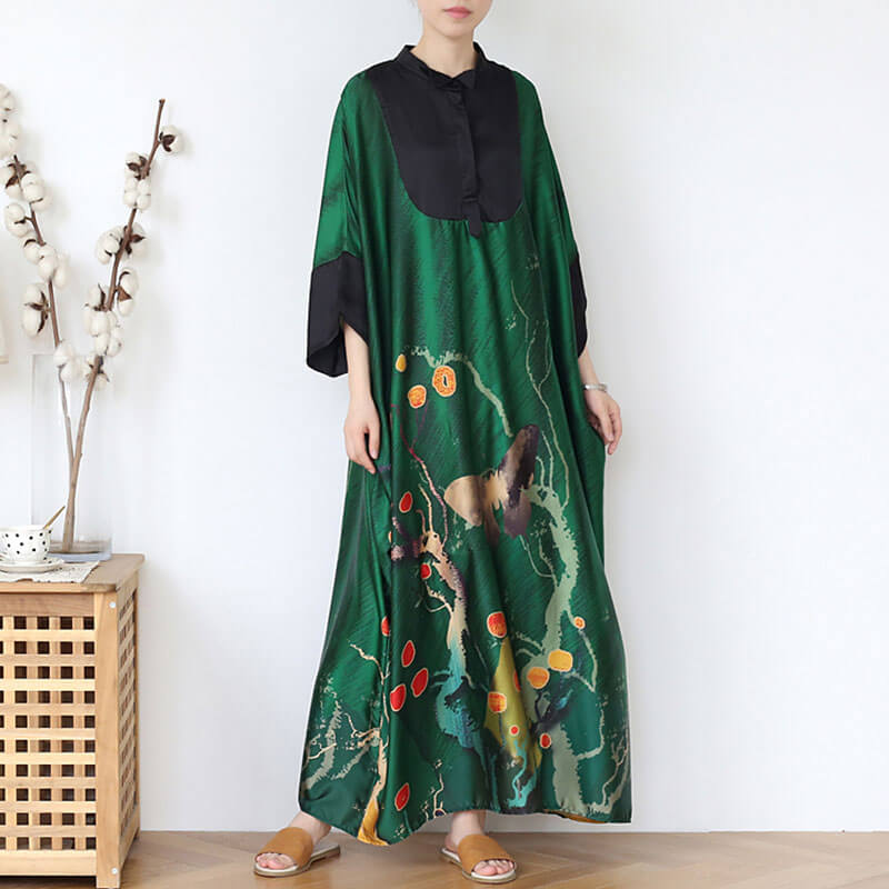 Women Color Spliced Summer Retro Maxi Dress