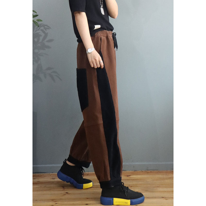 Women Color Stitching Drawstring Thicken Pants