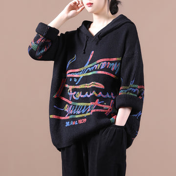 Women Colorful Letter Print Hooded Jumper
