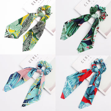 Women Colorful Ribbon Print Hair Rope(4 Pieces)