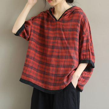 Women Cotton Plaid Hooded Color Spliced Casual T-shirt