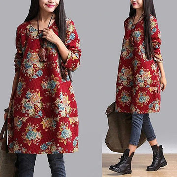 PLUS Size - Women Cotton Floral Prints Blouse