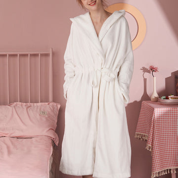 Women Cute Hooded Adjustable Waist Nightgown
