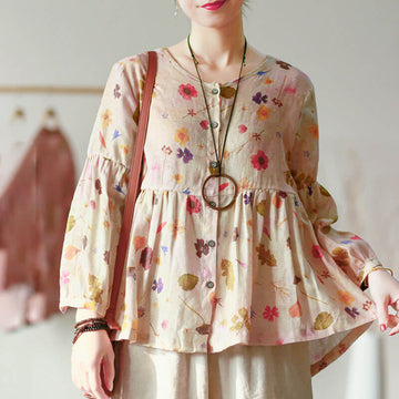 Women Cute Spring Draped Floral Shirt
