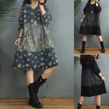 Women Daisy Floral Print Denim Hooded Dress