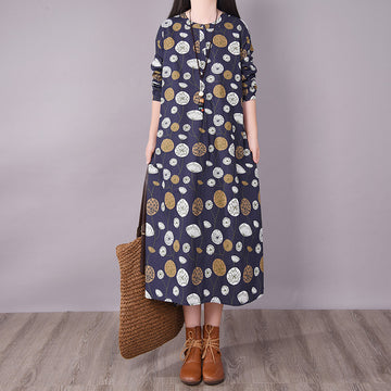 Women Dandelion Print Pocket Dress