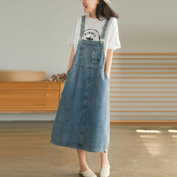Women Denim Adjustable Shoulder Strap Summer Dress