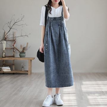 Women Denim Casual Drawstring Pocket Loose Dress