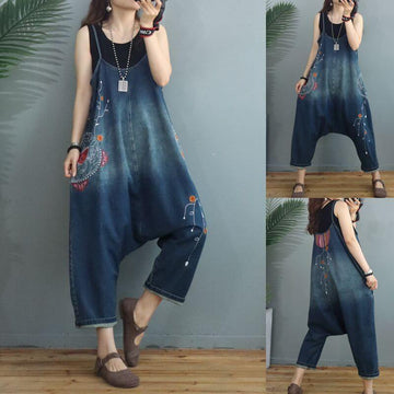Women Denim Casual Embroidered Pocket Jumpsuit Dungarees