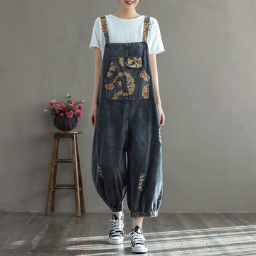 Women Denim Casual Hole Pocket Print Jumpsuits Dungarees