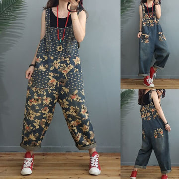 Women Denim Casual Loose Pocket Jumpsuits Dungarees